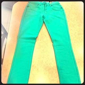 Teal Jeggings- French Terry material